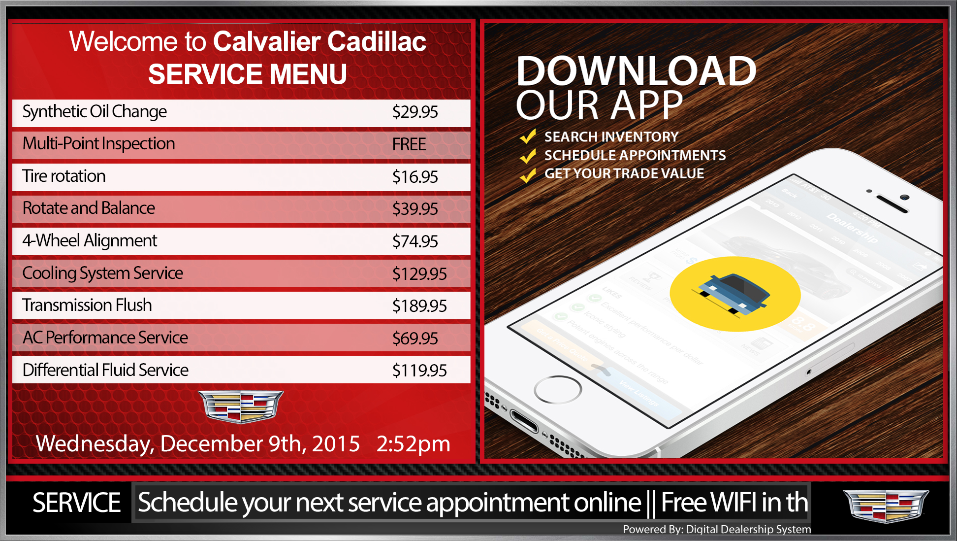 cadillac digital service menu board